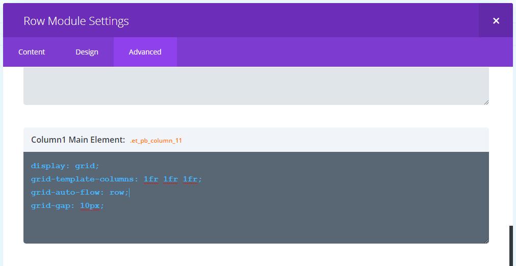 Divi Column Custom CSS Settings