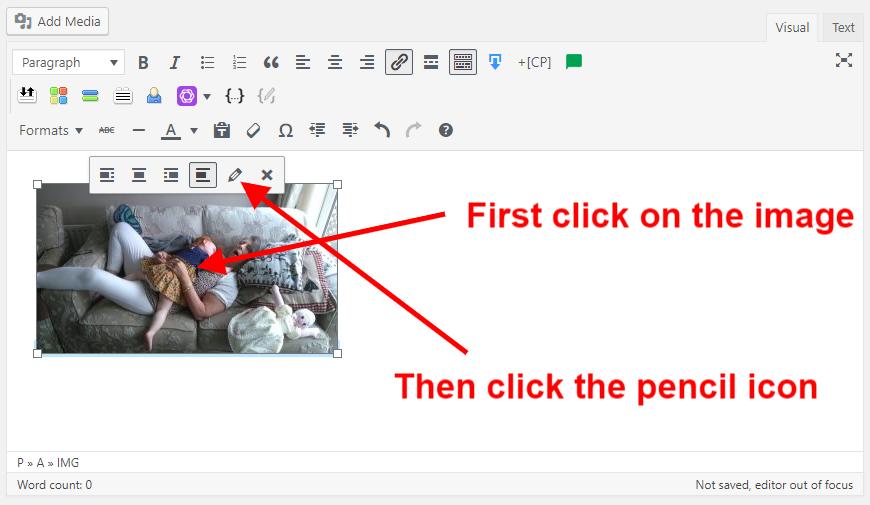 WordPress Post Editor with Image Added